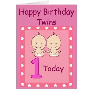 1st Birthday Twin Girls Custom Card