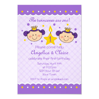 1st Birthday Twincess Party Invitation