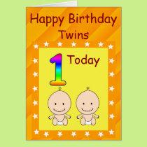 1st Birthday Twins Custom Card