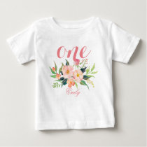 1st Birthday Watercolor Floral Personalized-7 Baby T-Shirt