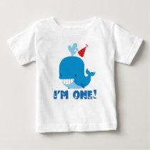 1st Birthday Whale Baby T-Shirt