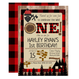 8806c4f5f4b 1st Birthday Wild One Flannel Lumberjack Theme Invitation