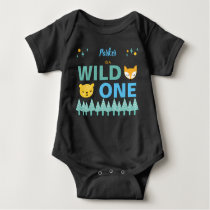 1st Birthday Wild One Woodland Animal Boys Blue Baby Bodysuit