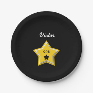 1st Birthday with Layered Stars GOLD BLACK A08Z Paper Plate