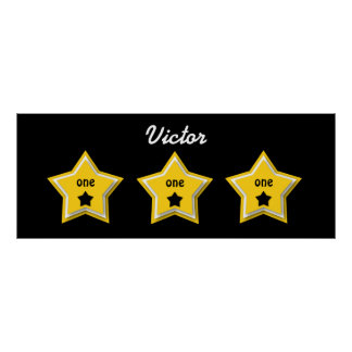 1st Birthday with Layered Stars GOLD BLACK A08Z Poster