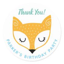 1st Birthday Woodland Animals Fox Thank You Classic Round Sticker