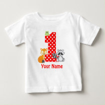 1st Birthday Woodland Animals Personalized T-shirt