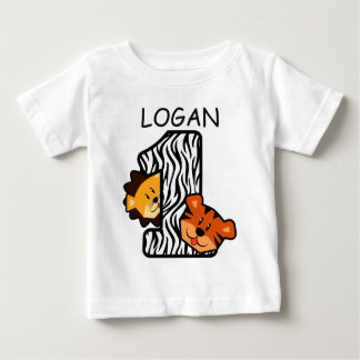 1st Birthday ZEBRA Tiger and Lion 1 Year Old A7 Tee Shirt