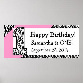 1st Birthday Zebra with Pink Custom Name V07 Poster