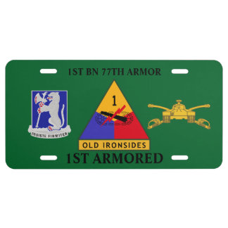 1ST BN 77TH ARMOR 1ST ARMORED LICENSE PLATE