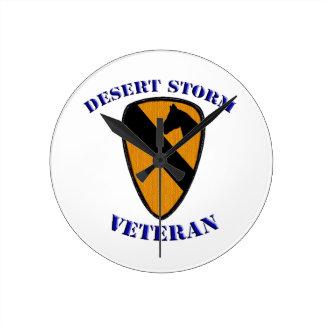 1st Cav Desert Storm Veteran Round Wallclocks
