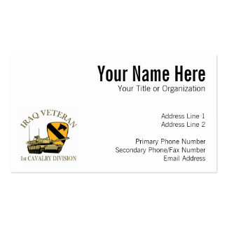 1st Cav Iraq Vet Tank Double-Sided Standard Business Cards (Pack Of 100)