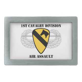 1st Cavalry Division Air Assault - With Text Rectangular Belt Buckle