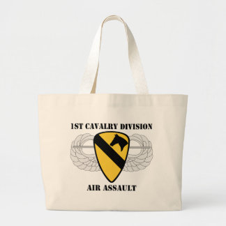 1st Cavalry Division Air Assault - With Text Large Tote Bag