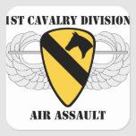 1st Cavalry Division Air Assault - With Text Square Sticker