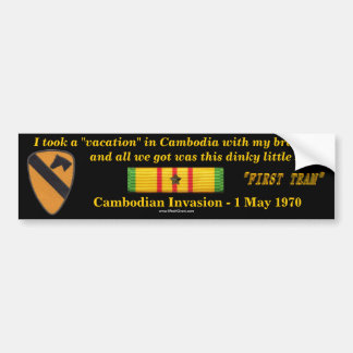 1st Cavalry Division Cambodian Vacation Bumper Sticker