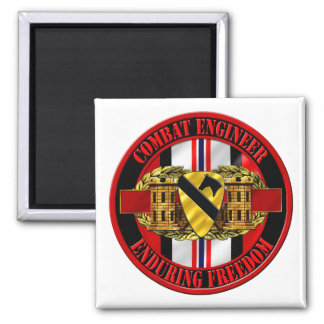 1st Cavalry Division Engineer OEF 2 Inch Square Magnet