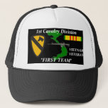 "1st Cavalry Division&quot;First Team&quot;Vietnam Ball Caps<br><div class=""desc"">Designed By A Vietnam Veteran --Designs feature: Vietnam Veterans who where in the Army, Marines, Armor, their Divisions, Battalions, Brigades .High Quality printing, a must for the Vietnam Veteran .Been there done that show it. Please check out the rest of our store for many girft items. Try our T-Shirts--Mousepads--Coffee Mugs...</div>"