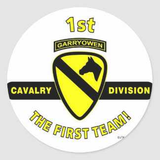 "1ST CAVALRY DIVISION ""THE FIRST TEAM"" CLASSIC ROUND STICKER"
