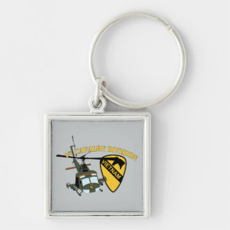 1st Cavalry Division - Vietnam - Huey Silver-Colored Square Keychain