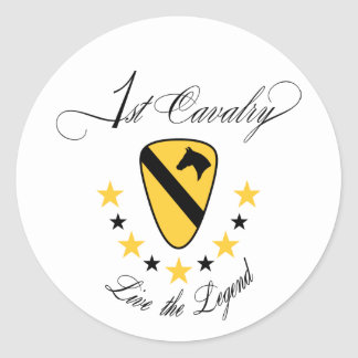1st Cavalry Live the Legend Gold Stickers