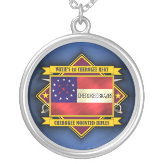 1st Cherokee Mounted Rifles Silver Plated Necklace
