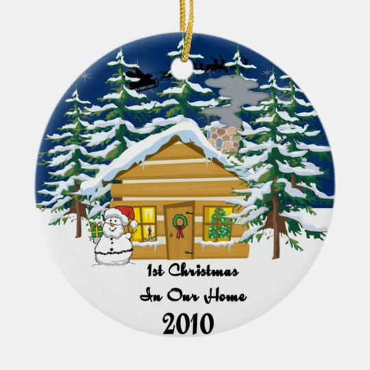 1st Christmas 2010 Cute Log Cabin Ceramic Ornament