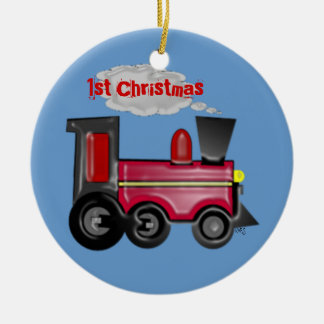 1st Christmas 3D Train Double-Sided Ceramic Round Christmas Ornament