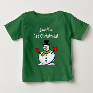 1st Christmas baby clothes | Cute snowman Holiday Baby T-Shirt