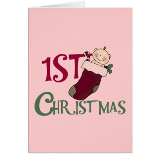 1st Christmas-Baby in Stocking Greeting Cards