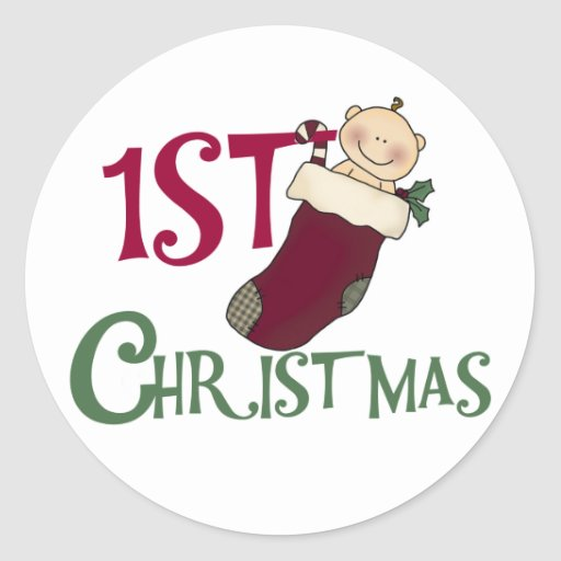 1st Christmas-Baby in Stocking Classic Round Sticker