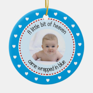 1st Christmas-Baby Photo, Name, Birth Date Blue Ceramic Ornament