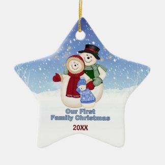 1st Christmas -Blue Frosty Snowman Family Ceramic Ornament