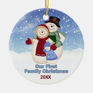 1st Christmas Blue Frosty Snowman Family Ceramic Ornament