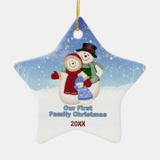 1st Christmas -Blue Frosty Snowman Family Christmas Ornament