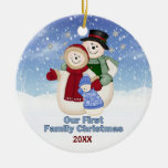 1st Christmas Blue Frosty Snowman Family Double-Sided Ceramic Round Christmas Ornament