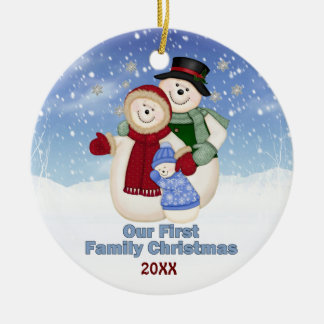 1st Christmas Blue Frosty Snowman Family Ornaments