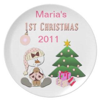 1st Christmas (Girl) Holiday Plate