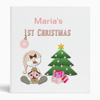 1st Christmas (Girl) Photo Album or Scrapbook 3 Ring Binder