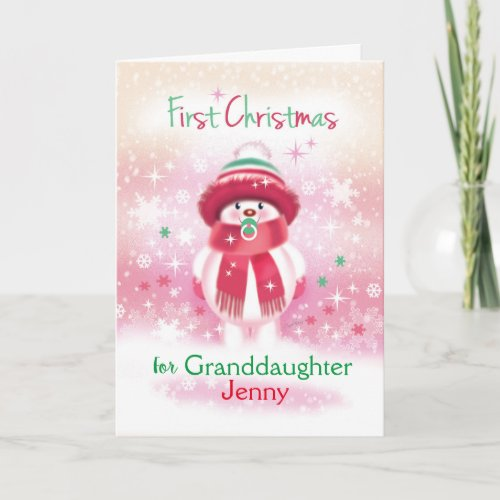 1st Christmas Granddaughter Snow baby  Pacifier Holiday Card