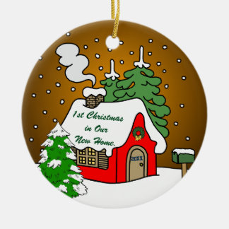 1st Christmas in New Home Ceramic Ornament