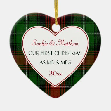 1st Christmas Married Gifts-Red Green Plaid Ceramic Ornament
