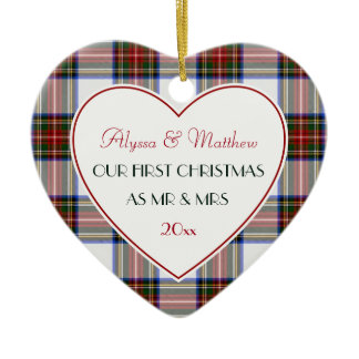1st Christmas Married Gifts-Stewart Plaid Ceramic Ornament