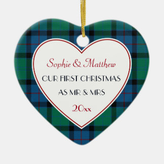 1st Christmas Married Plaid Gift Heart Ceramic Ornament
