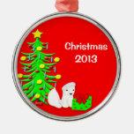 1st Christmas Ornament Baby Polar Bear w Santa Hat