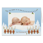 1st Christmas Photo Card with Singing Reindeer Greeting Card