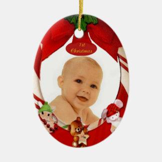1st Christmas Photo Frame Oval Ornament