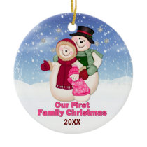 1st Christmas pink Frosty Snowman Family Ceramic Ornament