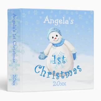 1st Christmas Snowman Avery 1.5 Inch Binder