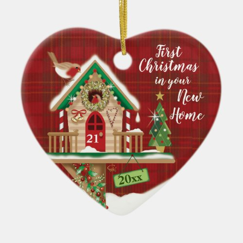 1st Christmas Your New Home Birdhouse Couple Ceramic Ornament